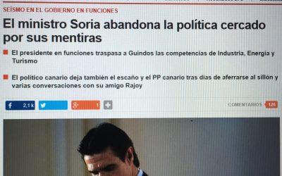 La no comparecencia del Ministro Soria para dar explicaciones fue un ninguneo a las instituciones democráticas