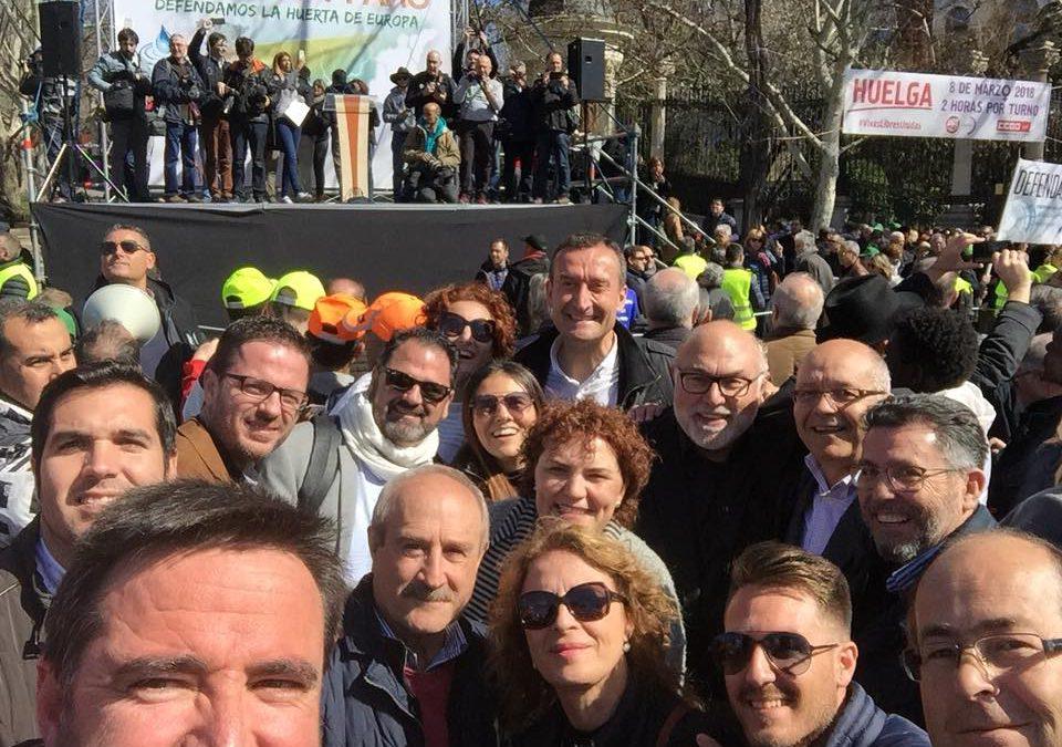 El PSPV-PSOE exige soluciones para acabar con el déficit hídrico en la manifestación de Madrid