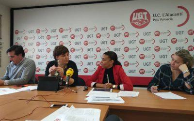 """La secretaria general de UGT en l'Alacantí-les Marines, Yaissel Sánchez, se ha reunido con los diputados del PSPV, Blanquer y Campos, que instan a """"permitir que se tramiten"""" las cuentas"""